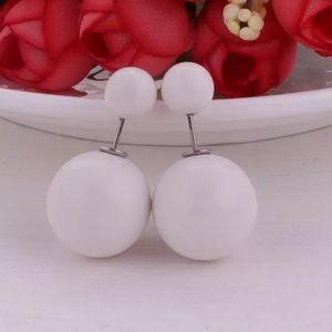 White Double Pearl Stud Earrings